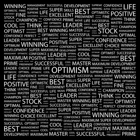 OPTIMISM. Word collage on black background. illustration. Stock Vector - 7340886