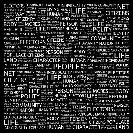 citizenry: PERSONAS. Palabra collage sobre fondo negro. ilustraci�n.