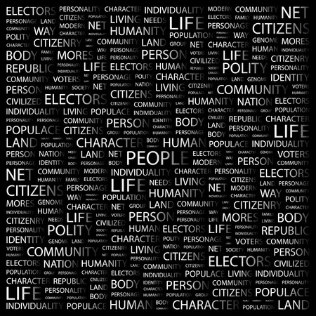 PEOPLE. Word collage on black background. illustration. Stock Vector - 7341321