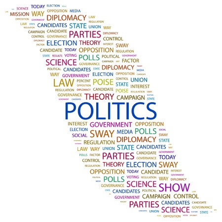 politics: POLITICS. Word collage on white background. illustration.
