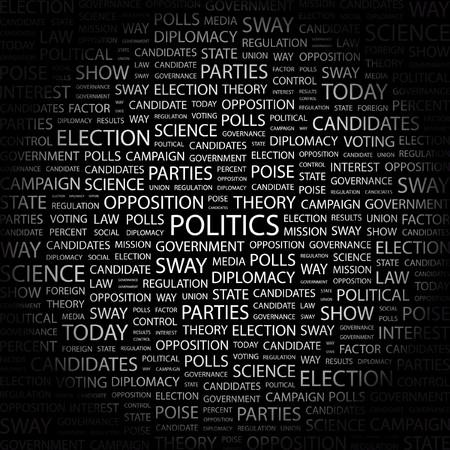 oposicion: POL�TICA. Palabra collage sobre fondo negro. ilustraci�n.  Vectores