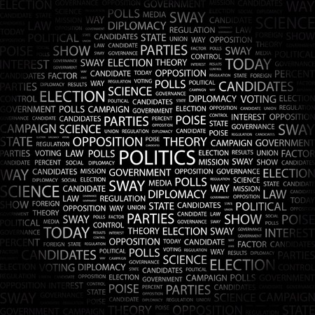 POLITICS. Word collage on black background. illustration. Stock Vector - 7341175