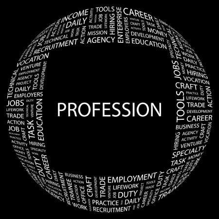 lifework: PROFESSION. Word collage on black background.   illustration.