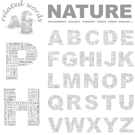 NATURE.   letter collection. Word cloud illustration.   Vector
