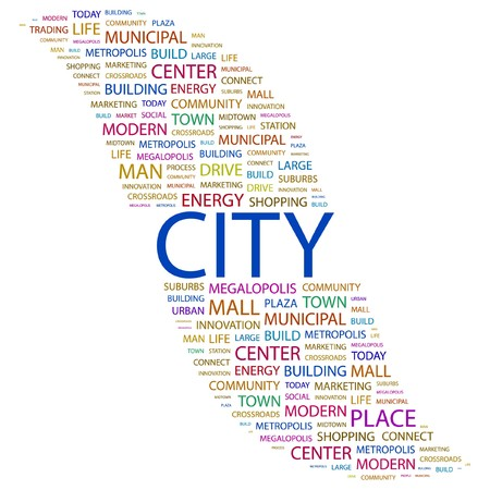 conurbation: CITY. Word collage on white background.   illustration.