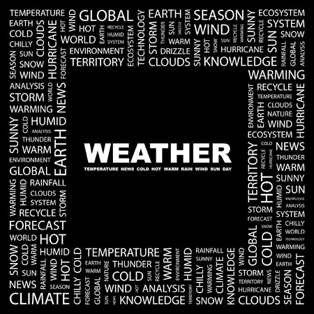 WEATHER. Word collage on black background. illustration. Stock Vector - 7338006