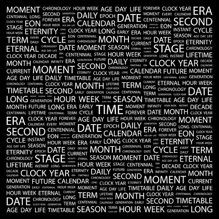 TIME. Word collage on black background. illustration.    Vector