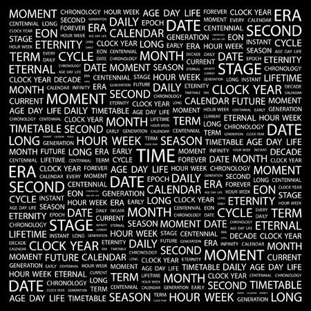 TIME. Word collage on black background. illustration.    Vector