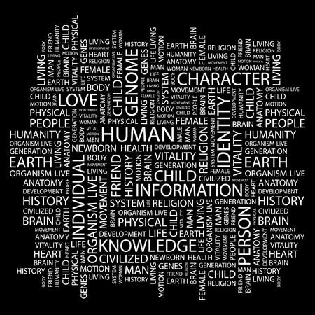 civilized: HUMAN. Word collage on black background.  illustration.