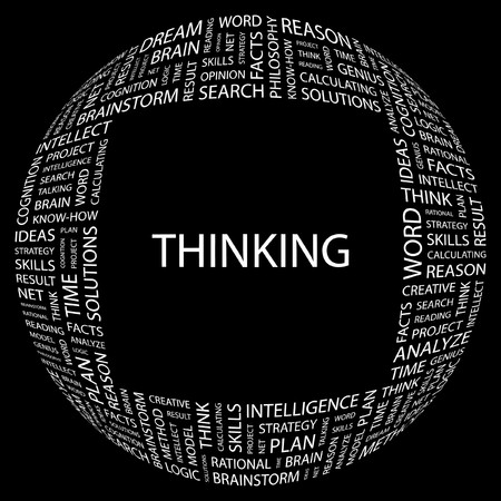 THINKING. Word collage on black background.  illustration. Stock Vector - 7339804