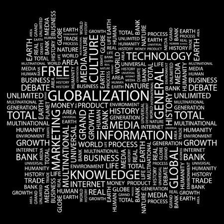 GLOBALIZATION. Word collage on black background.  illustration.    Stock Vector - 7339316
