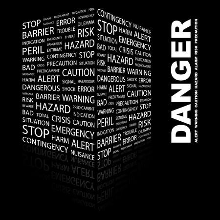 hazardous: PERICOLO. Collage di Word su sfondo nero.  illustrazione.    Vettoriali