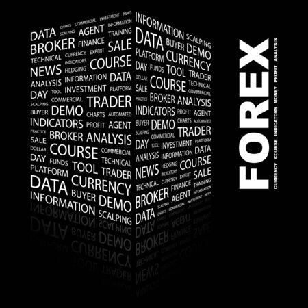 FOREX. Word collage on black background. illustration.    Vector