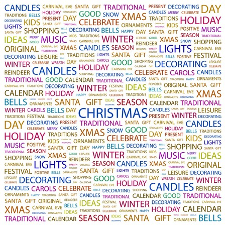 CHRISTMAS. Word collage on white background.  illustration.    Vector