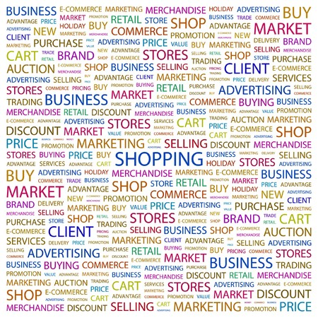 SHOPPING. Word collage on white background.  illustration.    Stock Vector - 7341180
