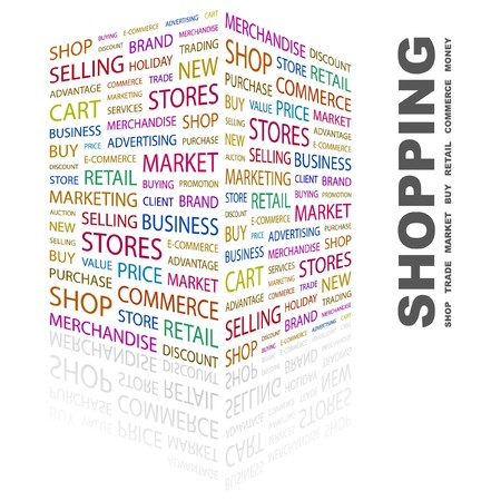 SHOPPING. Word collage on white background.  illustration.    Vector