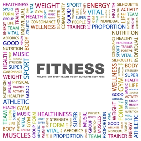 FITNESS. Word collage on white background.  illustration.    Vector