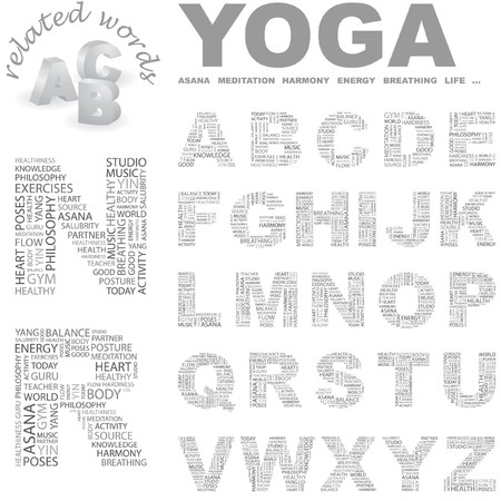 YOGA.   letter collection. Wordcloud illustration. Stock Vector - 7338972