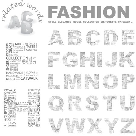 FASHION.   letter collection. Word cloud illustration.   Vector