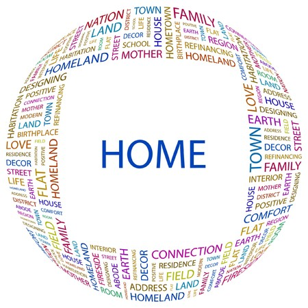 birthplace: HOME. Word collage on white background.  illustration.