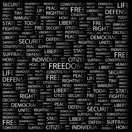 rightness: FREEDOM. Word collage on black background.  illustration.