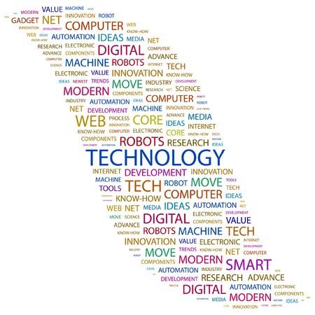 TECNOLOGÍA. Palabra collage sobre fondo blanco. ilustración.