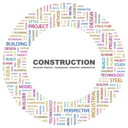 CONSTRUCTION. Word collage on white background. illustration.    Vector