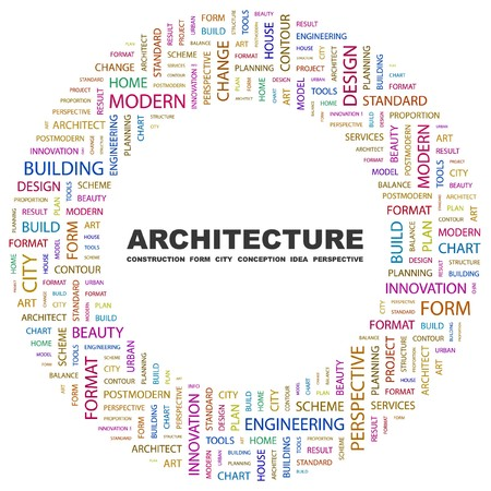 systematization: ARCHITECTURE. Word collage on white background illustration.