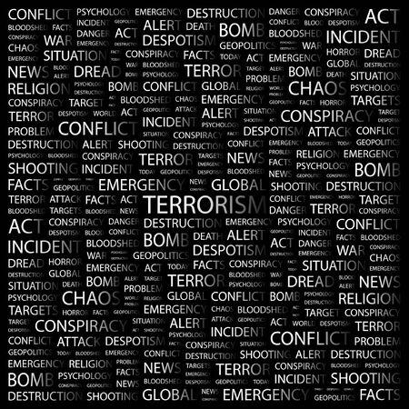 bloodshed: TERRORISMO. Palabra collage sobre fondo negro. ilustraci�n.