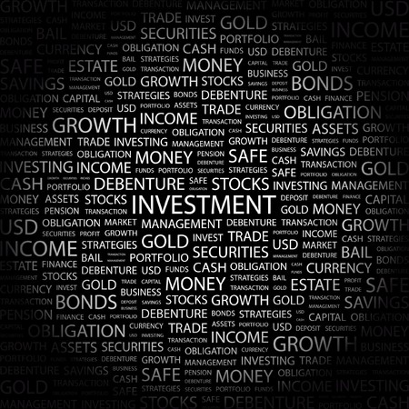 pensioen: INVESTERING. Word collage op zwarte achtergrond.  illustratie.