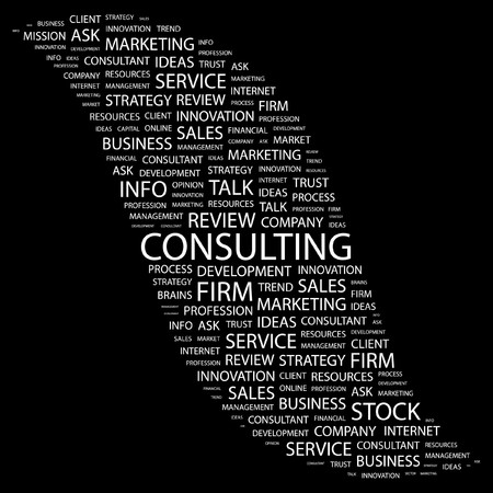 CONSULTING. Word collage on black background.  illustration.    Vector