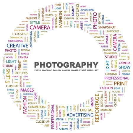 PHOTOGRAPHY. Word collage on white background. illustration.    Vector