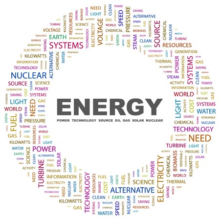 ENERGY. Word collage on white background.  illustration.    Vector