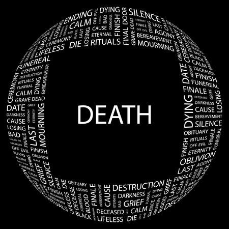 mourn: DEATH. Word collage on black background.   illustration.    Illustration