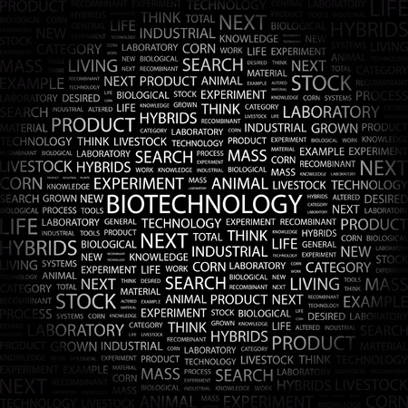 BIOTECHNOLOGY. Word collage on black background.  illustration.    Vector