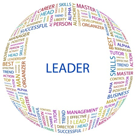 kingpin: LEADER. Word collage on white background. illustration.