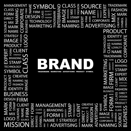 marketing mix: BRAND. Word collage on black background.  illustration.    Illustration