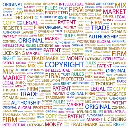 COPYRIGHT. Word collage on white background.  illustration.    Vector