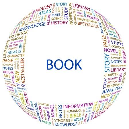 monograph: BOOK. Word collage on white background. illustration.    Illustration