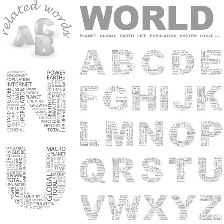 WORLD. letter collection. Word cloud illustration.   Vector