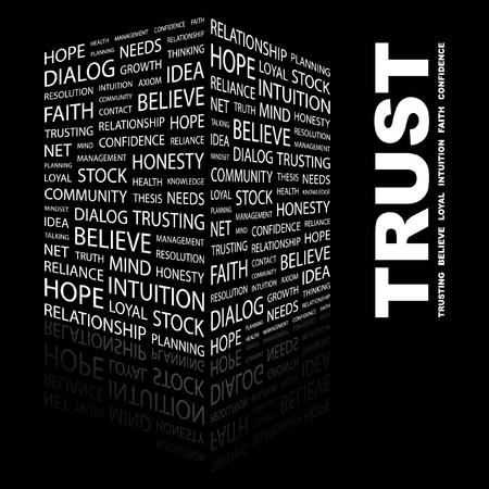 TRUST. Word collage on black background. illustration.