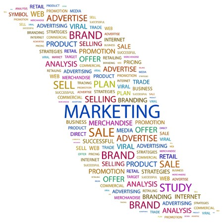 direct: MARKETING. Word collage on white background.   Illustration