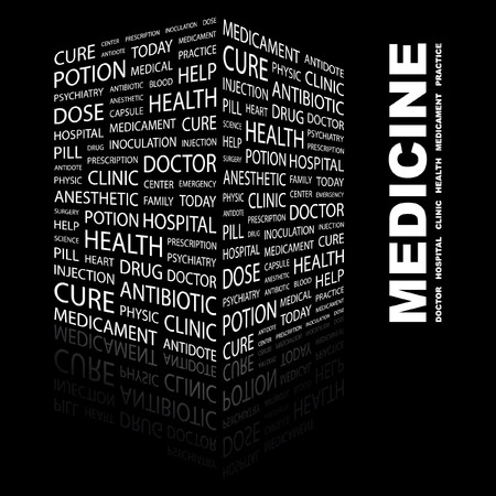 nursing associations: MEDICINE. Word collage on black background.  illustration.