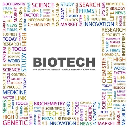 BIOTECH. Word collage on white background. illustration. Vector Illustration
