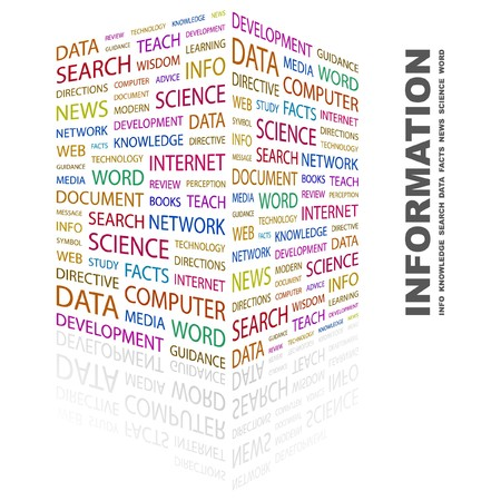INFORMATION. Word collage on white background.  illustration.    Stock Vector - 7357204