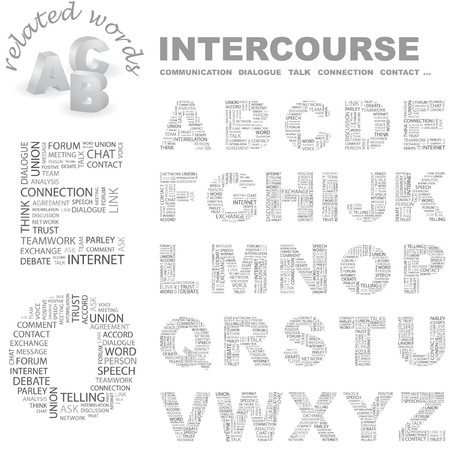 INTERCOURSE.   letter collection. Wordcloud illustration. Stock Vector - 7355789