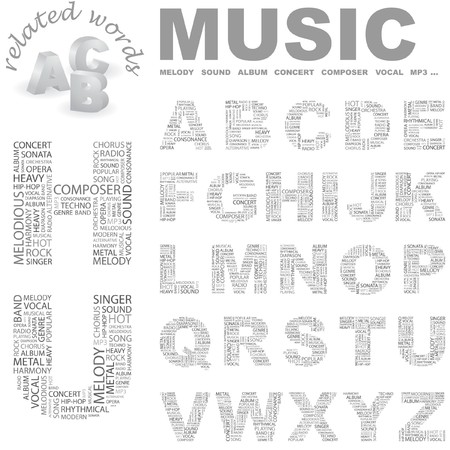 MUSIC. letter collection. Wordcloud illustration.   Vector