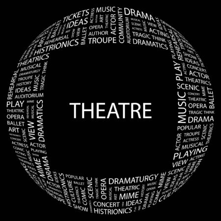 THEATRE. Word collage on black background.  illustration.