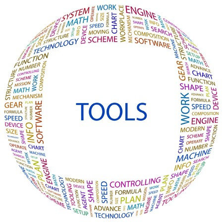 text tool: TOOLS. Word collage on white background. illustration.