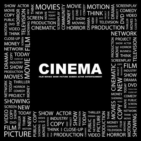 screen print: CINEMA. Collage di Word su sfondo nero.  illustrazione.